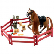 Set cavallo marrone con accessori