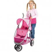 Passeggino jogger gemellare rosa per bambole