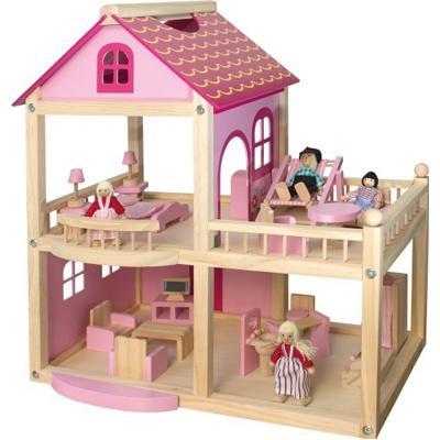 Casa delle bambole in legno rosa con personaggi beluga - Casa delle bambole in legno ikea ...