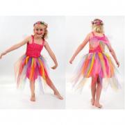 Vestito fucsia con tulle arcobaleno tg. 6 anni