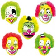 Maschera Clown con capelli fluo
