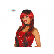 Parrucca lunga nera e rossa con frangia
