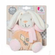 Coniglio con sonaglino 15cm sciarpa rosa