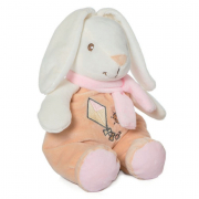 Coniglio con sonaglino 28cm sciarpa rosa