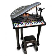 Pianoforte giocattolo nero con sgabello e microfono
