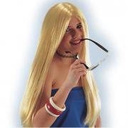 Parrucca lunga bionda con riga