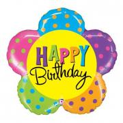 Pallone elio foil Fiore Happy Birthday cm. 76