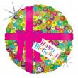 Pallone foil elio 46cm Happy birthday pink