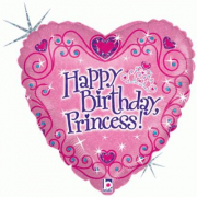 "Pallone elio ""Happy Birthday Princess"" cuore cm. 46"