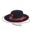 Cappello Cavaliere nero medio in bifloccato con sottogola