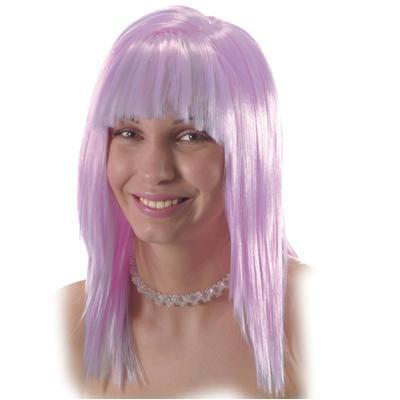 Parrucca lilla con frangia in valigetta
