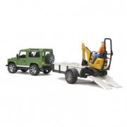 Bruder 02593 - Land Rover Defender con rimorchio e scavatore