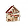 Casa delle bambole in legno con mobili