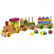 Treno in legno con vagoni e suoni
