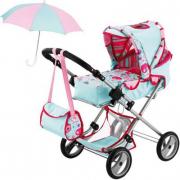 Carrozzina bambole con ombrellino e borsa