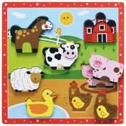 Puzzle animali della fattoria in legno