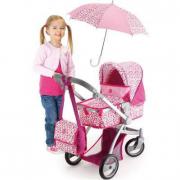 Carrozzina deluxe bambola con borsa e ombrellino