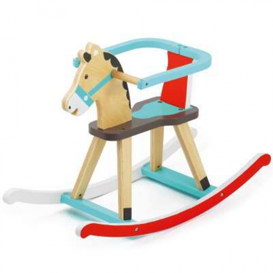 cavallo a dondolo in legno colorato giochi giocattoli. Black Bedroom Furniture Sets. Home Design Ideas