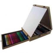 Valigetta colori da disegno 63 pezzi con cavalletto