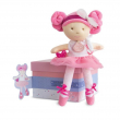 Bambola tedu capelli teddy rosa con fiocco