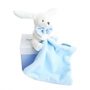 Coperta coniglio blu fazzoletto scatola fiori - Doudou