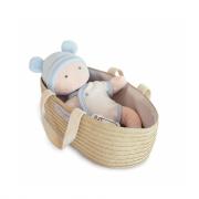 Bambola in pezza Poupon bianca e azzurra con culla