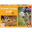 Puzzle 2x48 pezzi Cane e gatto