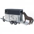 Bruder 02028 - Rimorchio trasporta cavalli con cavallo