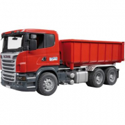 Bruder 03522 - Camion container Scania R-Series rosso