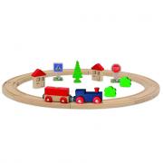 Trenino in legno con pista