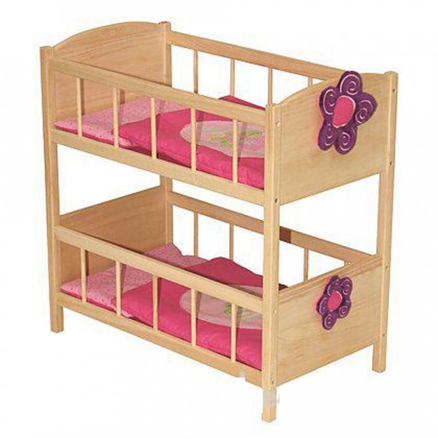 Letto a castello in legno per bambole - Giochi - Giocattoli