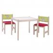 Tavolino gioco con sedia e panca in legno