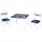 Set tavolo in legno con sedie Rennfahrer