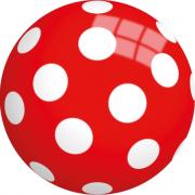 Palla in gomma rossa a pois diamentro 13cm