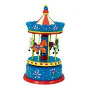 Giostra cavalli con carillon grande in legno blu e rosso