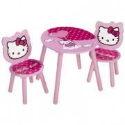 Tavolino in legno con due sedie Hello Kitty
