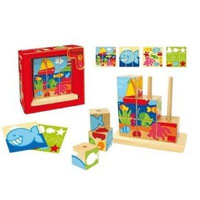 Puzzle cubi Mare in legno Goula