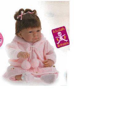 Bambola Cukin bebe' mora con codini cm. 48 4484