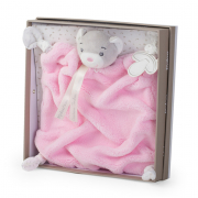 Doudou orsetto rosa plume