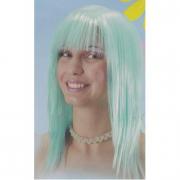 Parrucca azzurra/verde liscia con frangia