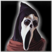 Maschera Scream con cappuccio in fingomma in busta c/cavallotto