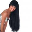 Parrucca lunga nera con frangia
