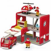 Caserma pompieri in legno giocattolo