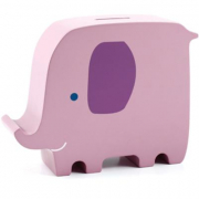 Elefante rosa salvadanaio in legno