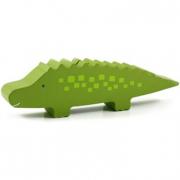 Coccodrillo verde salvadanaio in legno