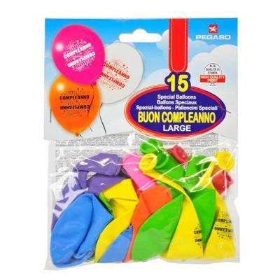 Palloncini Buon compleanno large 15 pezzi