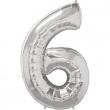 Pallone numero 6 argento h100 cm.