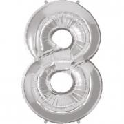 Pallone numero 8 argento h100 cm.