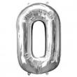 Pallone numero 0 argento h100 cm.