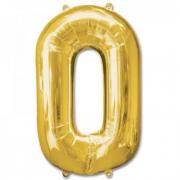 Pallone numero 0 oro h100 cm.